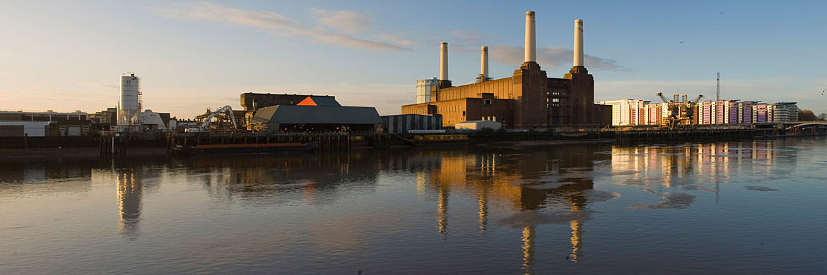 Battersea Power Station reflected in the River Thames