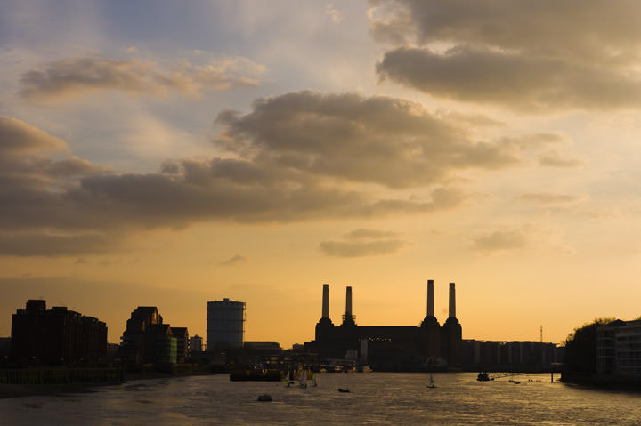 Battersea Power Station from Vauxhall under yellow sky at dusk