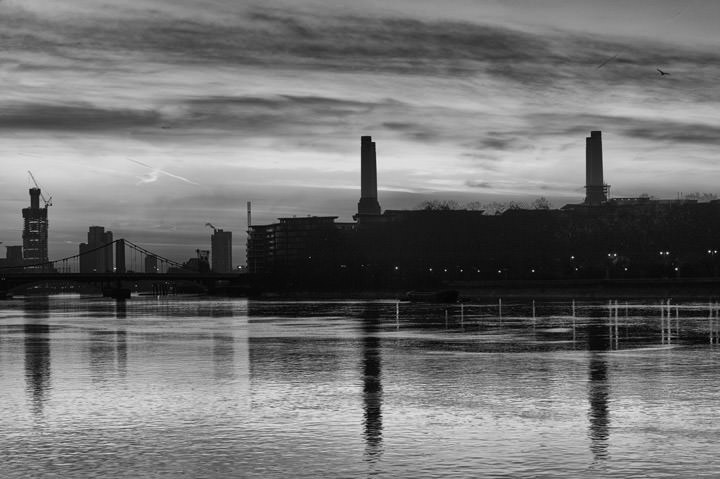 Battersea Power Station at Dawn on the River Thames in Wandsworth in black and white