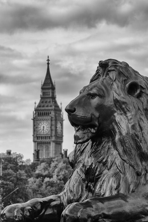 Photograph of Big Ben and Trafalgar Square Lion