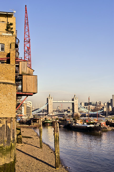 Butlers Wharf and Tower Bridge viewed from River Thames at Southwark