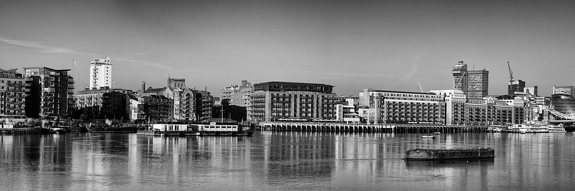 Butlers Wharf panorama along River Thames in Southwark