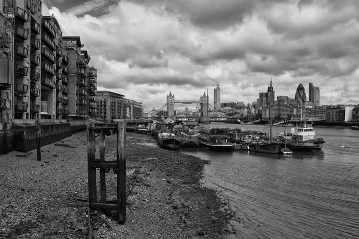 Butlers Wharf and Tower Bridge in Southwark - black and white picture