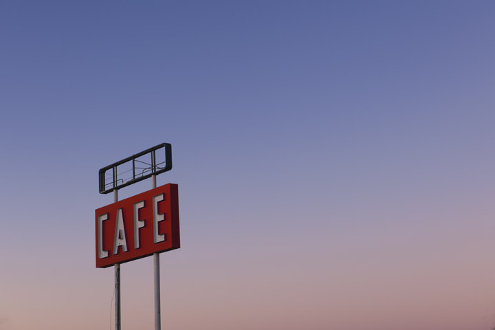Cafe Sign at dawn -  Route 66 Adrian - Texas