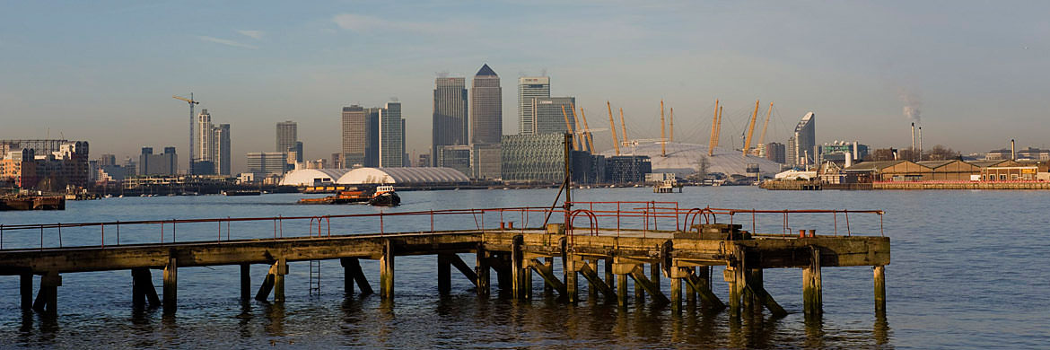 The River Thames in Tower Hamlets featuring Canary Wharf viewed from Greenwich