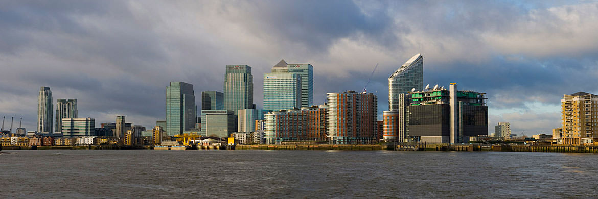 The River Thams at Tower Hamlets featuring Canary Wharf