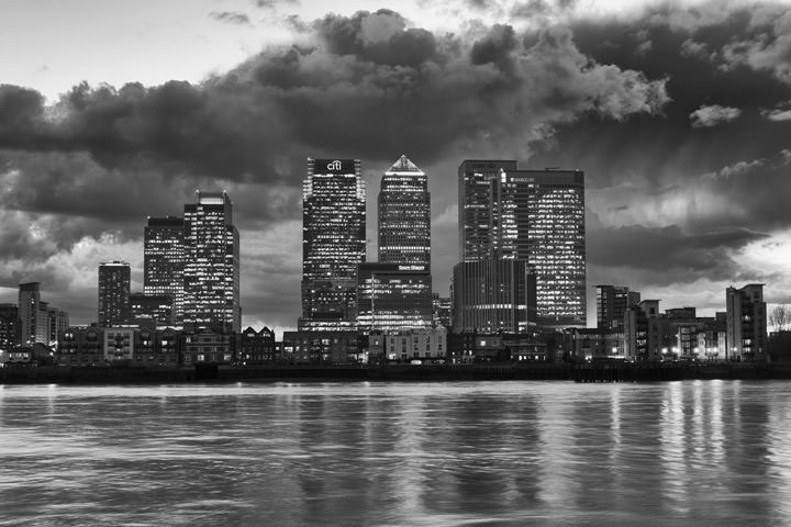 Black and white photographs of canary wharf page 1 of 2