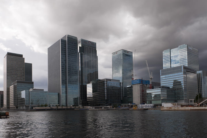 Canary Wharf on the River Thames at the Isle of Dogs