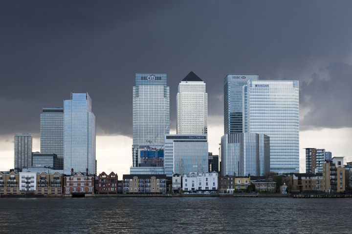 Canary Wharf is turned blue by stormy weather