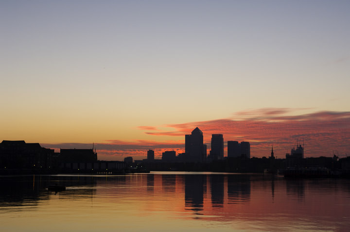 Canary Wharf under red skies of dawn