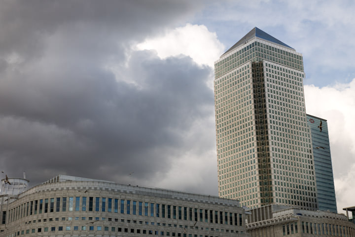 One Canada Square Canary Wharf on a stormy day