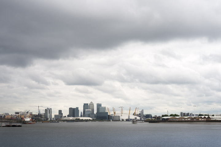 Canary Wharf Cityscape on a cloudy winter day