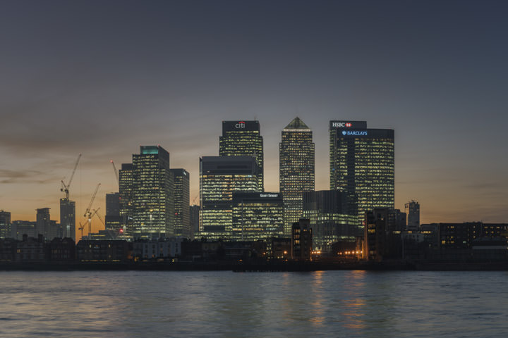 The lights come on at Canary Wharf  at dusk in this skyline scene