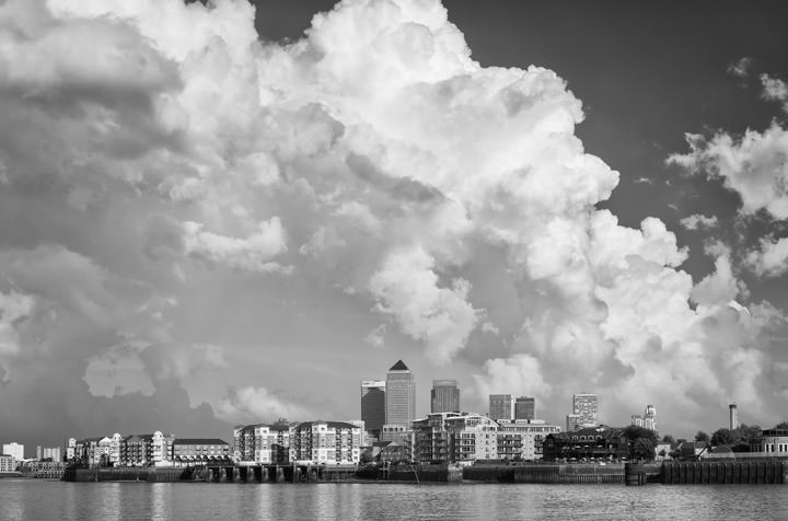 Canary Wharf and Rotherhithe beneath spectacular clouds.
