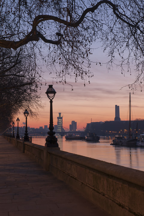 Chelsea Embankment  at dawn showing Battersea Power Station and River Thames