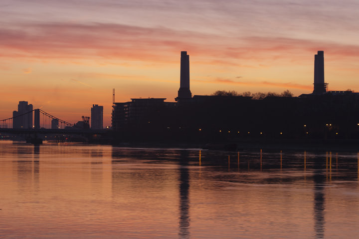 Battersea Power Station at Dawn on the River Thames in Wandsworth