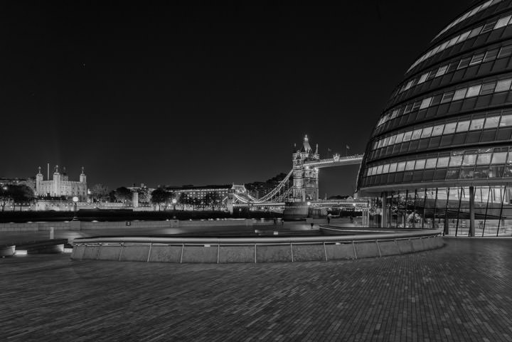 City Hall - Tower Bridge and Tower of London at night in black and white
