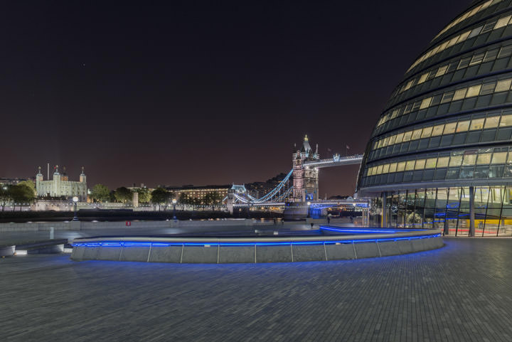 City Hall - Tower Bridge and Tower of London at night in colour