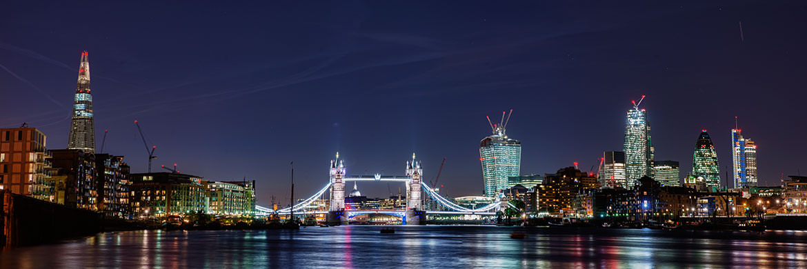 City of London skyline featuring Tower Bridge, the Shard, 20 Fenchurch Street, and Heron Tower