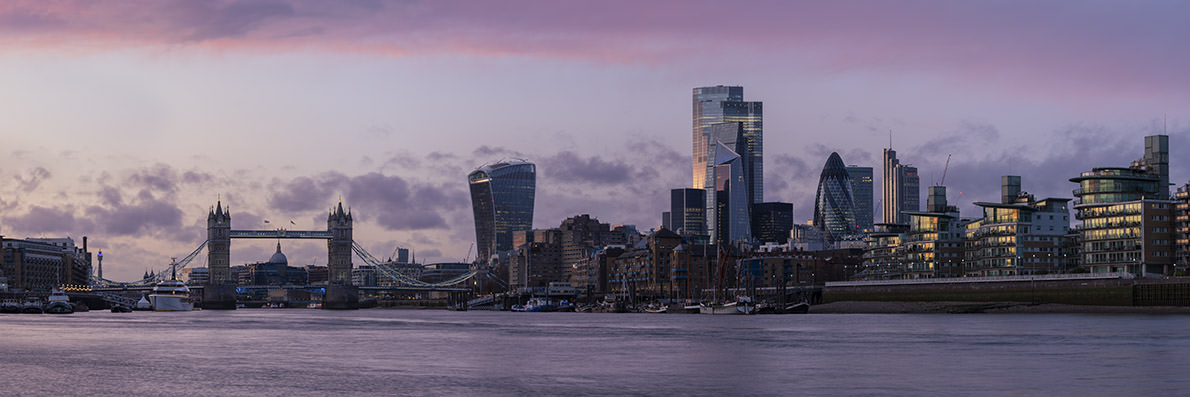 City of London Skyline Pink
