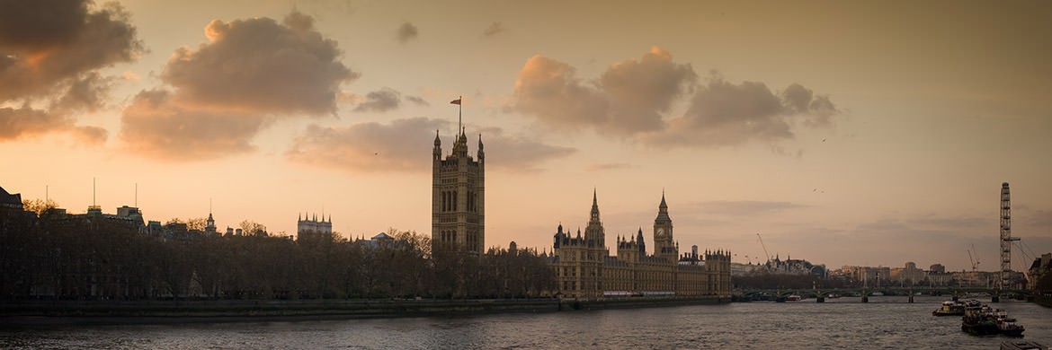Dusk falls over Westminster