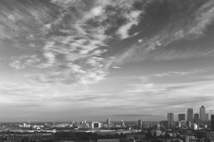Black and White Photo of East London Skyline