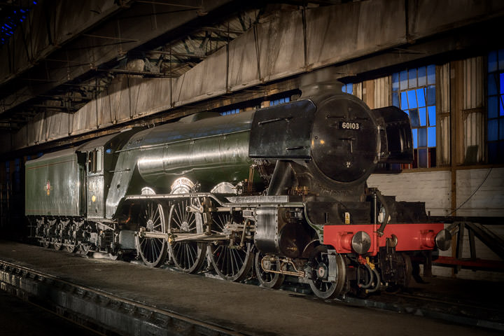 Flying Scotsman on shed