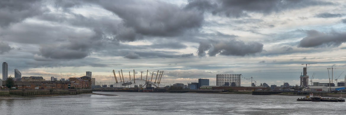 River Thames panorama of Greenwich Peninsula