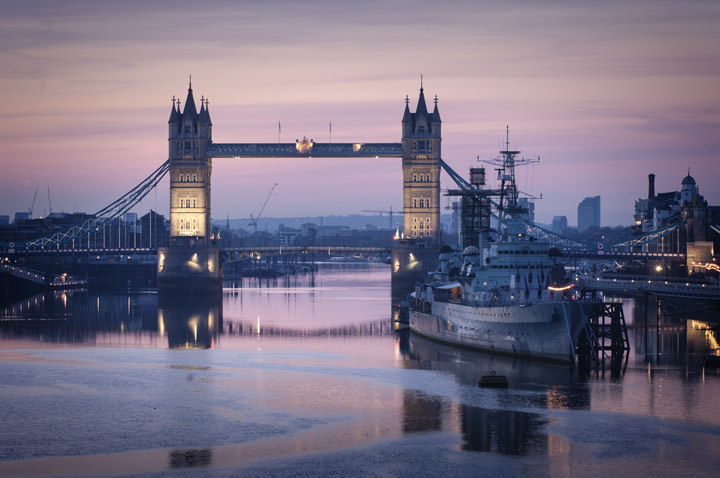 HMS Belfast and Tower Bridge on a beautiful dawn morning