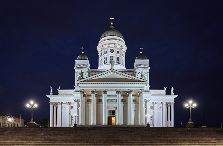 The white Helsinki Cathedral in Finland at night