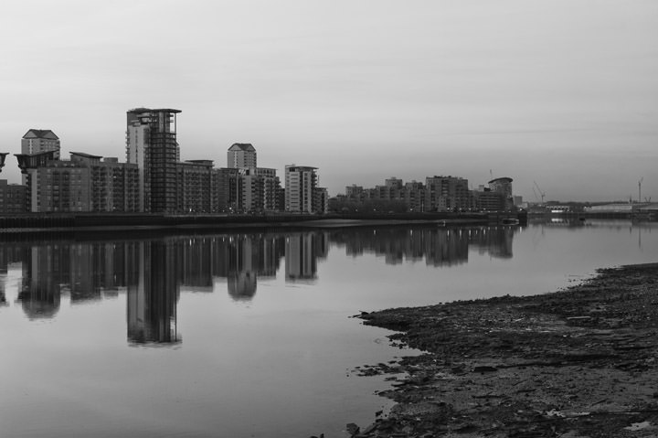 Isle of Dogs in Tower Hamlets on banks of River Thames