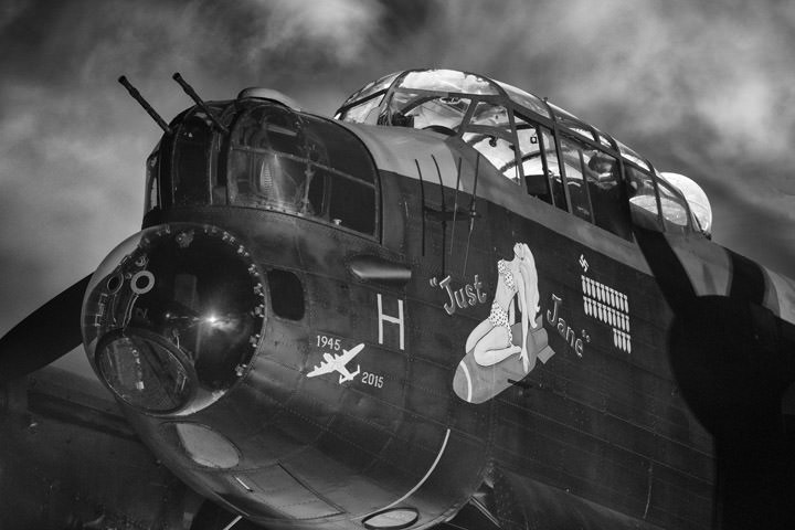 Black and White Photograph of Just Jane Avro Lancaster Bomber