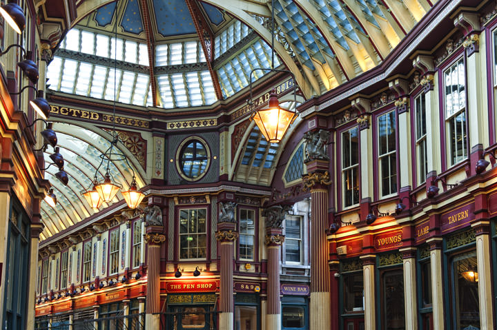 The architectural detail of Londons Victorian Leadenhall Market
