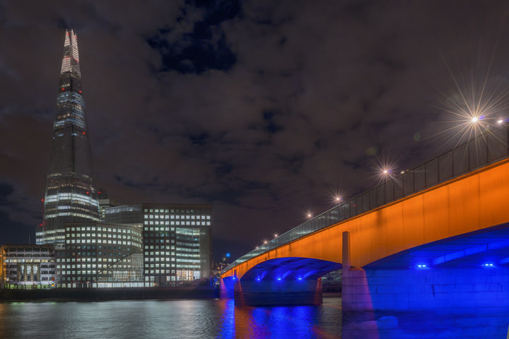 London Bridge and the Shard of London at night in colour