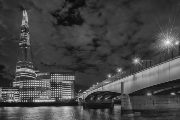 London Bridge and the Shard of London at night
