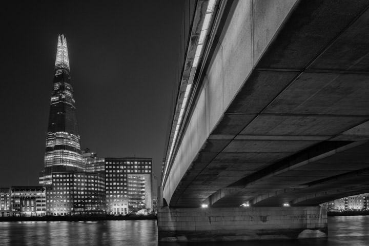 London Bridge and the Shard of London at night time