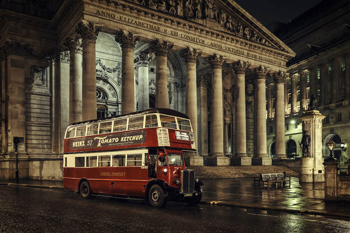 Vintage red London bus at the Royal Exchange