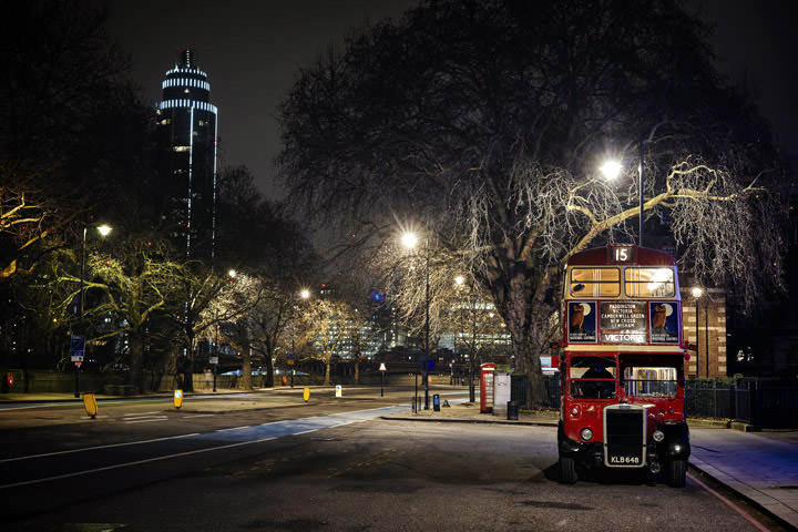 Red London bus and St Georges Tower