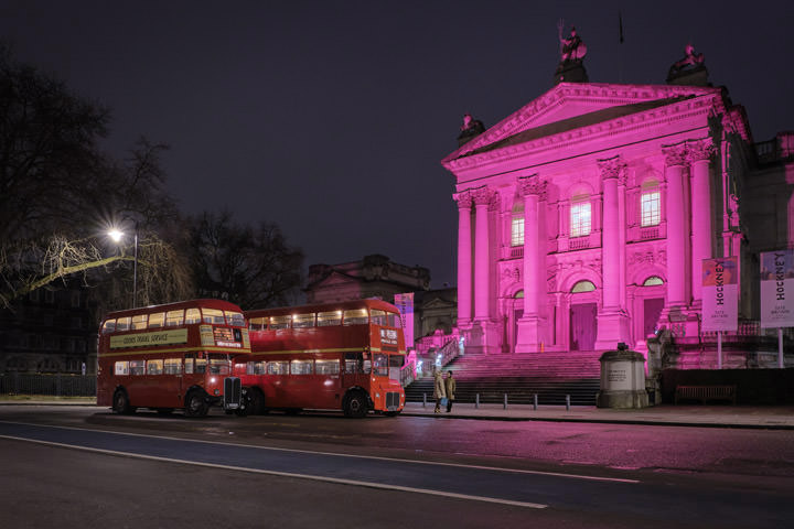 London Bus at Tate Modern lit in pink