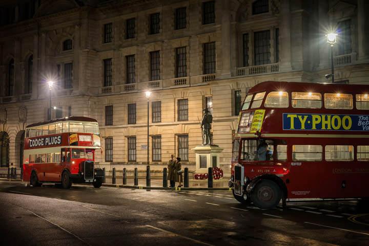 Vintage London bus scene