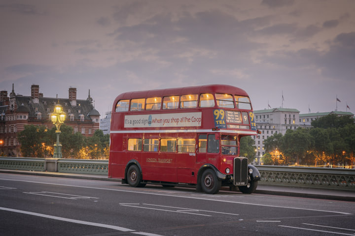 Photograph of London Bus Westminster Bridge 2