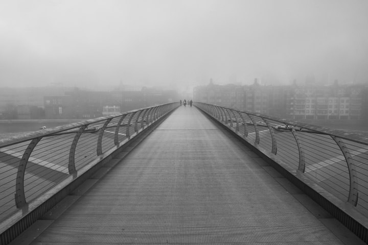 Looking across the Millennium Bridge on a foggy day