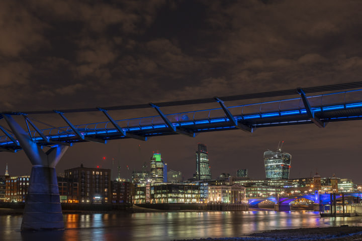 Photograph of Millennium Bridge and City Skyline 1
