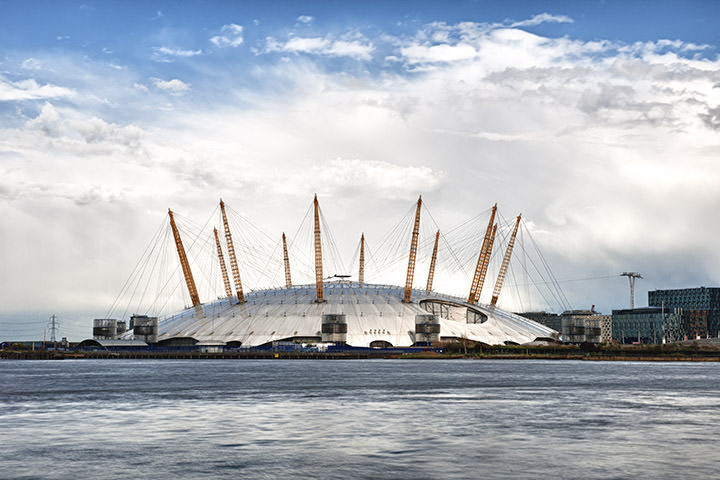 The Millennium Dome beneath white clouds at daytime