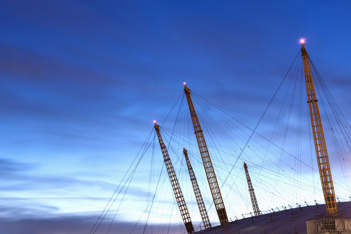 Millennium Dome Detail  against a bright blue sky