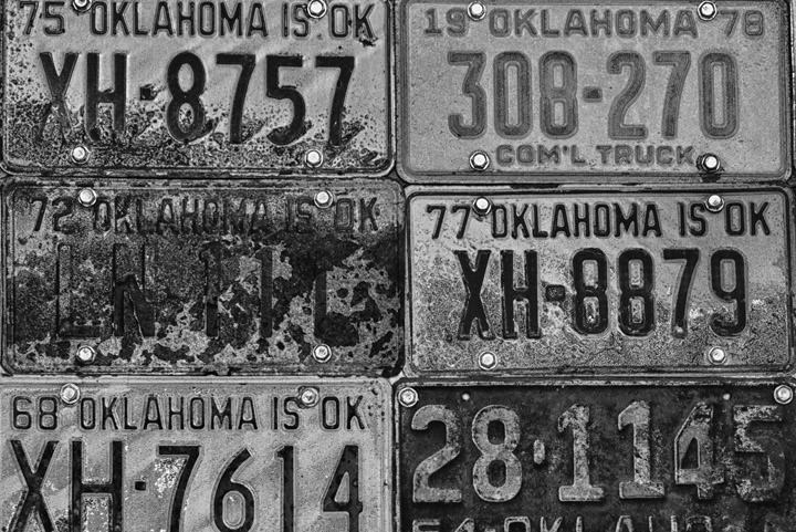 Photograph of Oklahoma License Plates