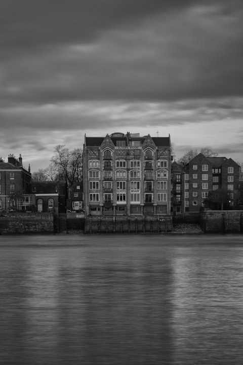 Olivers Wharf  and River Thames in black and white