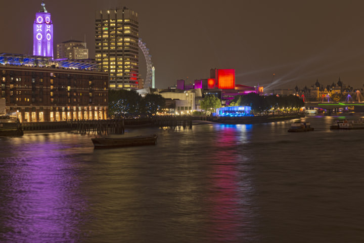 Oxo Tower, Sea Containers House and the London Eye on the South Bank of the River Thames at Southwark