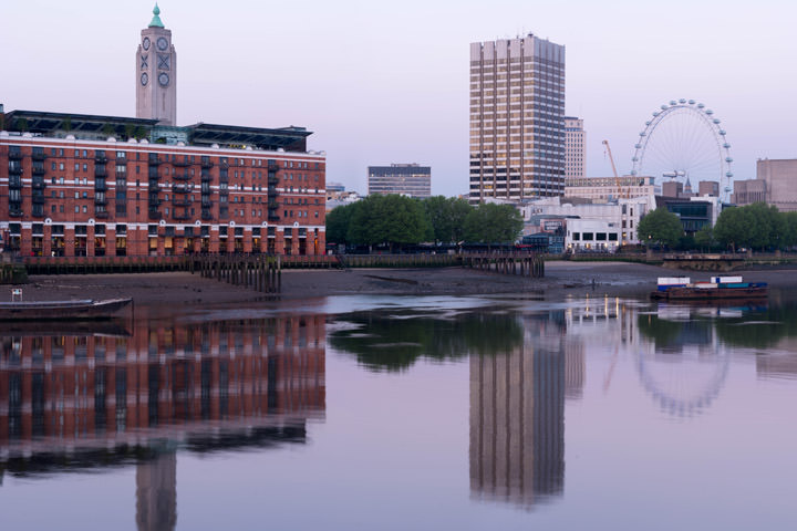 Oxo Tower and London Eye at Dawn