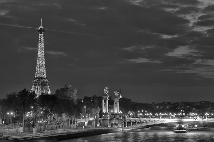 Photograph of Paris at night